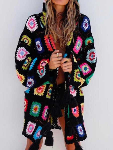 Handmade Hollow Tassel Hooded Sweater Cardigan