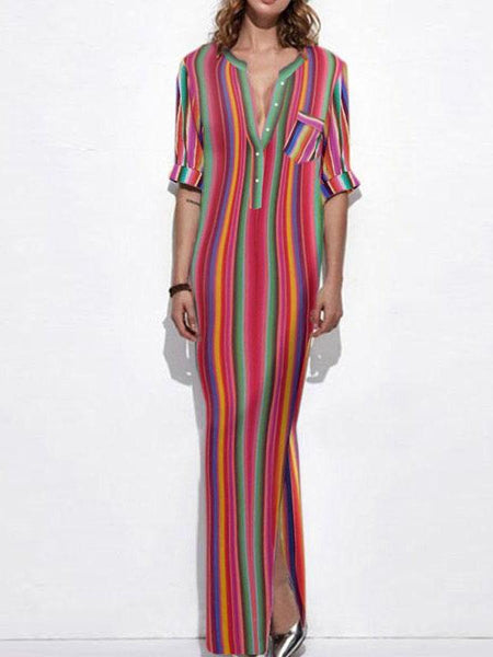Colorful Stripe V Neck Split Maxi Long Dress