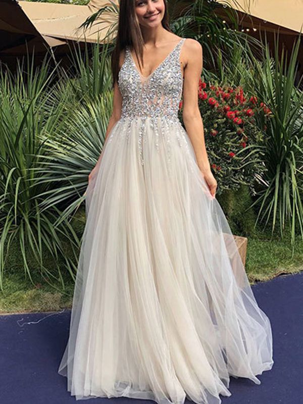 Sexy Deep V Sequins Backless Dress Long Dress