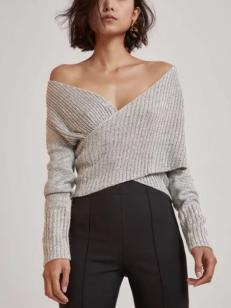 Autumn Sexy Cross V-Neck Sweater