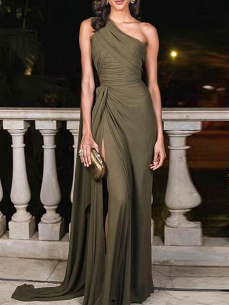 Spring And Summer Sexy Sloping Shoulder Strapless Evening Dress