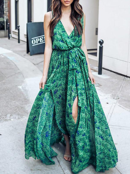 Printed Deep V Neck Sleeveless Belted Boho Maxi Long Dress