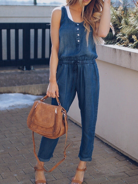 Denim Sleeveless High Waist Casual Jumpsuit Romper