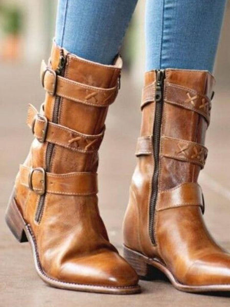 Casual Winter Low Square Heel Knight Mid Boots