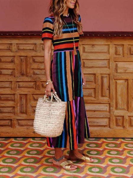 Colorful Round Neck Short Sleeves Striped Maxi Dress