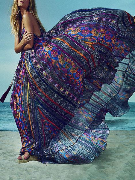 Print Sleeveless Beach Bohemia Maxi Dress