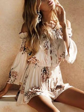 Load image into Gallery viewer, Sexy Off Shoulder Long Sleeve Floral Print Boho Rompers