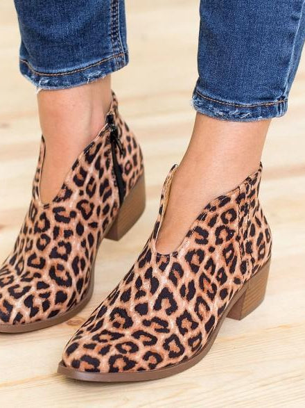 Women Winter Leopard Printed Short Boots