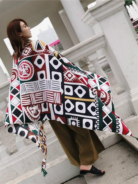 Ethnic Autumn Bohemian Long Geometric Print Scarf