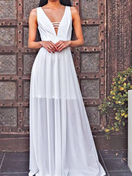 White Deep V Neck Sleeveless Chiffon Evening Maxi Dress
