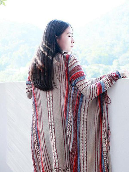 Ethnic Bohemian Striped Long Sleeve Tassel Knitted Cardigan Sweater
