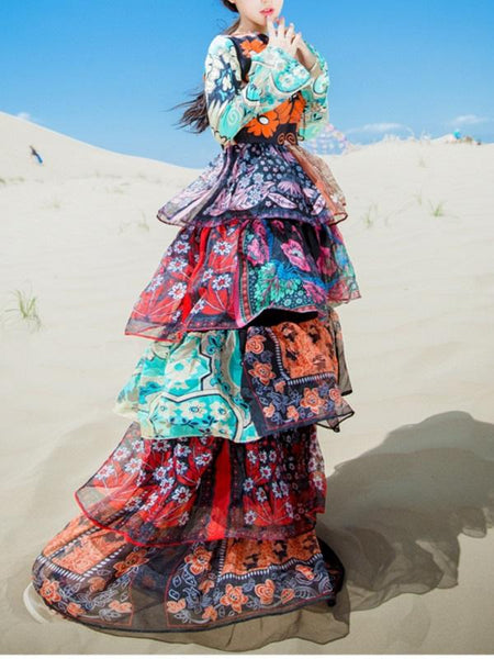Floral Printed Tiered Ruffles Layered Long Dress