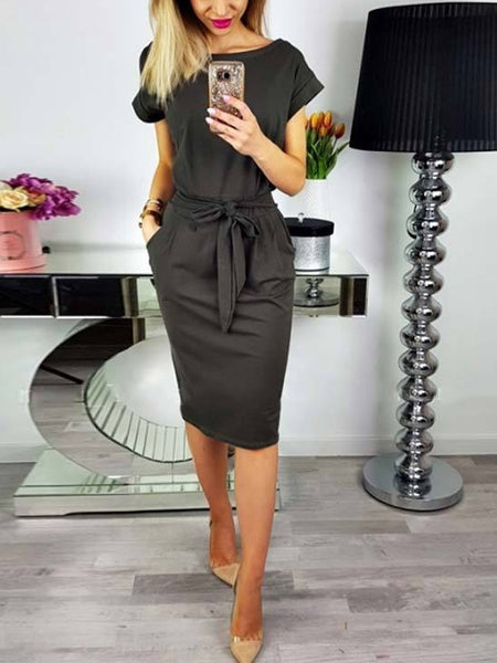 Solid Color Short Sleeve Belted Bodycon Midi Dress