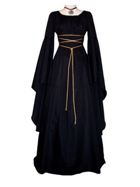 Halloween Solid Color Round Neck Long Sleeve Maxi Dress