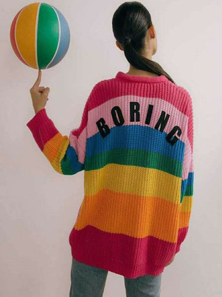 Rainbow Stripe Women's Sweater in Long Love Embroidered Loose Knit Cardigan Autumn Jacket