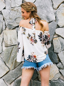 Fashion White Floral Off Shoulder Bohemia Blouse Shirt Tops