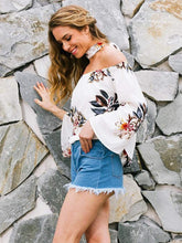 Load image into Gallery viewer, Fashion White Floral Off Shoulder Bohemia Blouse Shirt Tops