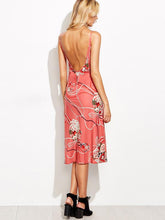 Load image into Gallery viewer, Elegant Spaghetti Neckline Floral Midi Dress