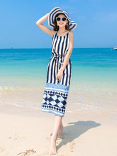 Load image into Gallery viewer, Black Stripes Maxi Beach Bohemia Dress