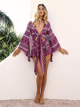 Load image into Gallery viewer, Floral-Print Long Sleeve V Neck Lace-Up Bohemia Short Jumpsuits