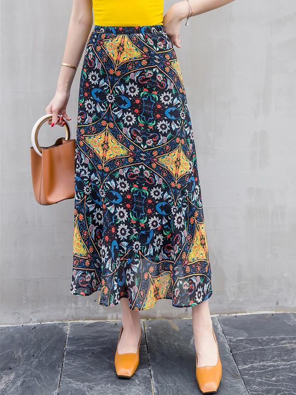 Beautiful Floral-Print Waist Beach Bohemia Skirt Bottoms
