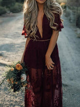 Load image into Gallery viewer, Pretty Sexy Lace Solid Color Short Sleeve Deep V Neck Side Split Maxi Dress
