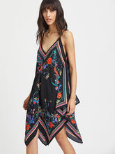 Load image into Gallery viewer, Pretty Sexy Floral-Print Straps Sleeveless Deep V Neck Mini Dress
