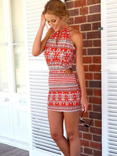 Load image into Gallery viewer, Beautiful Floral-Print Off-Shoulder Round Neck Lace-Up Mini Dress