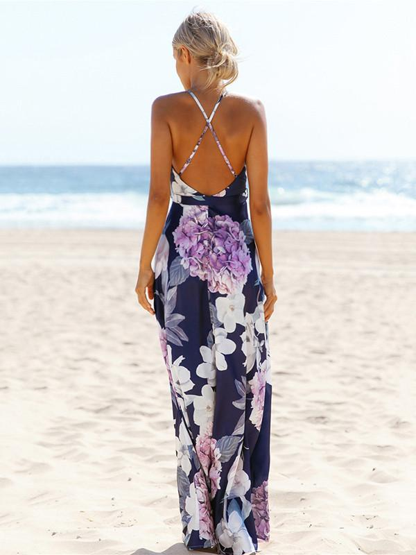 54923193c ... Load image into Gallery viewer, Popular Cotton Floral Printed Off Back  Deep V Neck Maxi ...