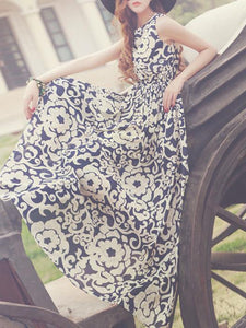 Chiffon Floral-Printed Sleeveless Round Neck Maxi Dress