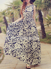 Load image into Gallery viewer, Chiffon Floral-Printed Sleeveless Round Neck Maxi Dress