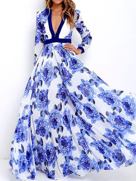 d2f5298ef9 Floral Printed Deep V-neck Long Sleeves Maxi Dress ...