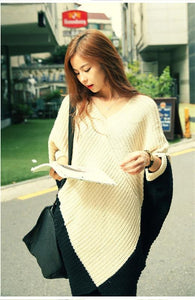 Split Joint V-neck Batwing Sleeve Knit Sweater