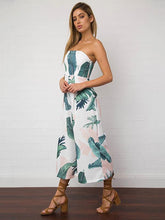 Load image into Gallery viewer, Leaves Printed Backless Off-the-shoulder Long Jumpsuits