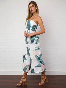 Leaves Printed Backless Off-the-shoulder Long Jumpsuits