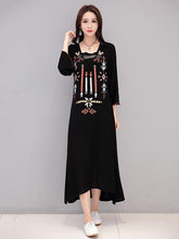 Load image into Gallery viewer, Bohemia Emboridered Printed Long Sleeve Maxi Dress