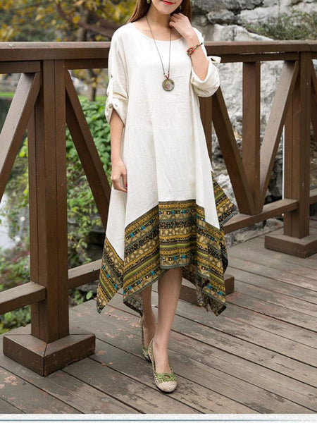 Autumn Asymmetric Retro Round-neck Half Sleeve Midi Dress