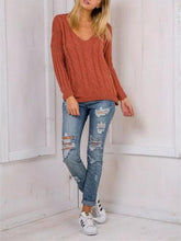 Load image into Gallery viewer, Knit Hollow BacklessLong Sleeve V-neck Sweater