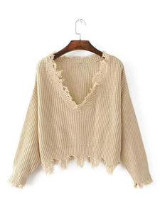 Knitting V-neck Cropped Tasselled Sweater Tops