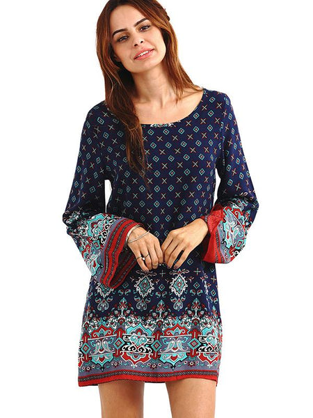 Vintage Printed Flared Sleeve Round-neck Dress