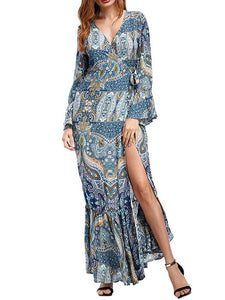 Bohemia Mermaid Split-side V-neck Maxi Dress