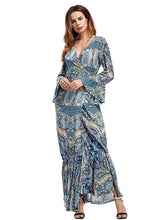 Load image into Gallery viewer, Bohemia Mermaid Split-side V-neck Maxi Dress
