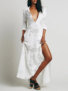 White Split-side Lapel Collar Maxi Dress