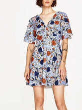 Load image into Gallery viewer, Bohemia Floral V-neck Backless Mini Dress
