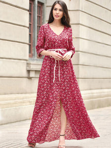 Bohemia Chiffon Floral-printed V-neck Maxi Dress
