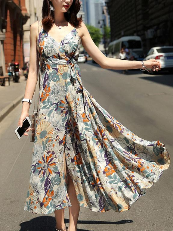 Bohemia Floral Printed Belted V-neck Split-side Maxi Dress