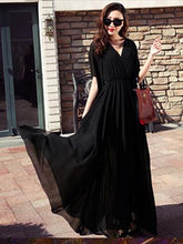 Load image into Gallery viewer, Chiffon Solid Color V-neck Flared Sleeves Maxi Dress