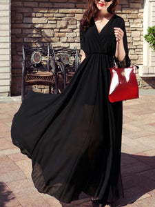 Chiffon Solid Color V-neck Flared Sleeves Maxi Dress