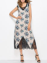 Load image into Gallery viewer, Floral Lace Split-joint V-neck Sleeveless Bohemia Midi Dress