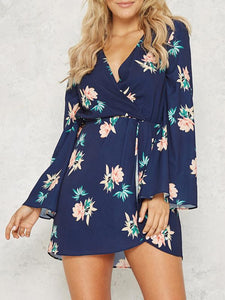 Floral Print V-neck Split Sleeves Mini Dress